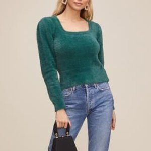 ASTR the Label - Fuzzy Crop Sweater in Green